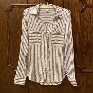Shiny gold striped Express shirt size S